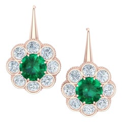 1.5 Carat Emeralds and Diamond Rose Gold Drop Earrings