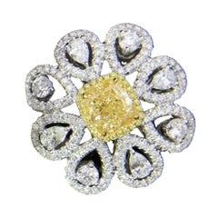 1.5 Carat Fancy Yellow Diamond Ring 18 Karat White Gold
