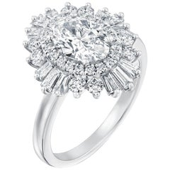 1.5 Carat GIA Diamond Engagement Ring, Gatsby Oval Halo 18 Karat White Gold Ring