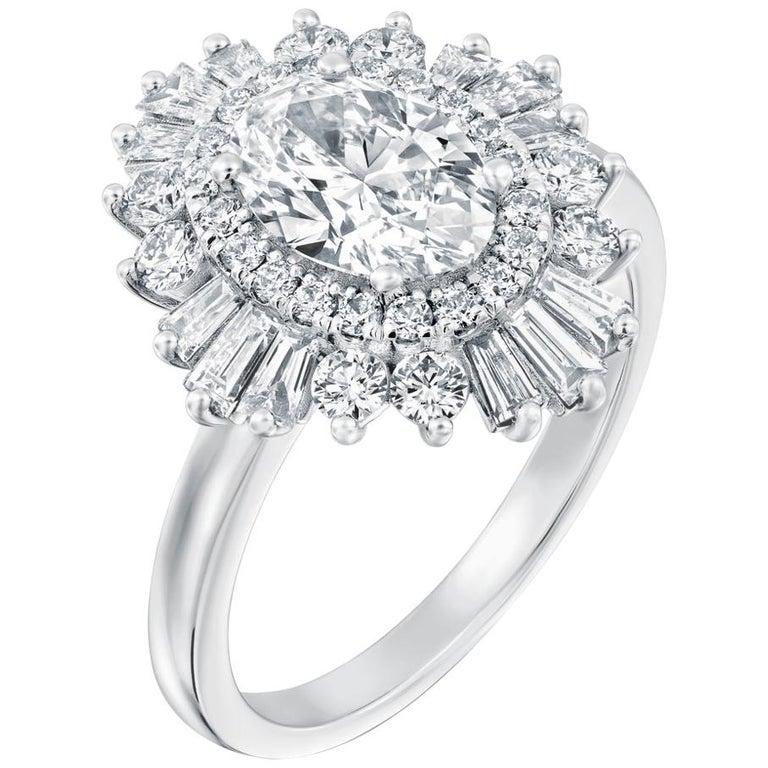 1.5 Carat GIA Diamond Engagement Ring, Gatsby Oval Halo 18 Karat White Gold Ring For Sale