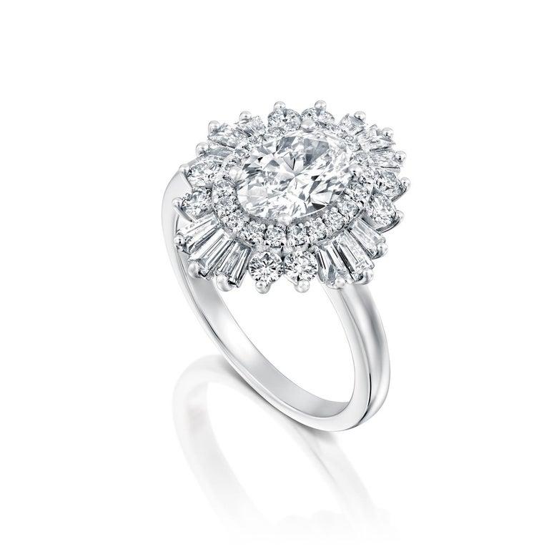 Art Deco 1.5 Carat GIA Diamond Engagement Ring, Gatsby Oval Halo 18 Karat White Gold Ring For Sale