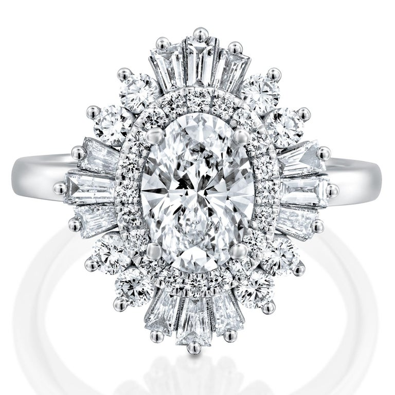 Oval Cut 1.5 Carat GIA Diamond Engagement Ring, Gatsby Oval Halo 18 Karat White Gold Ring For Sale