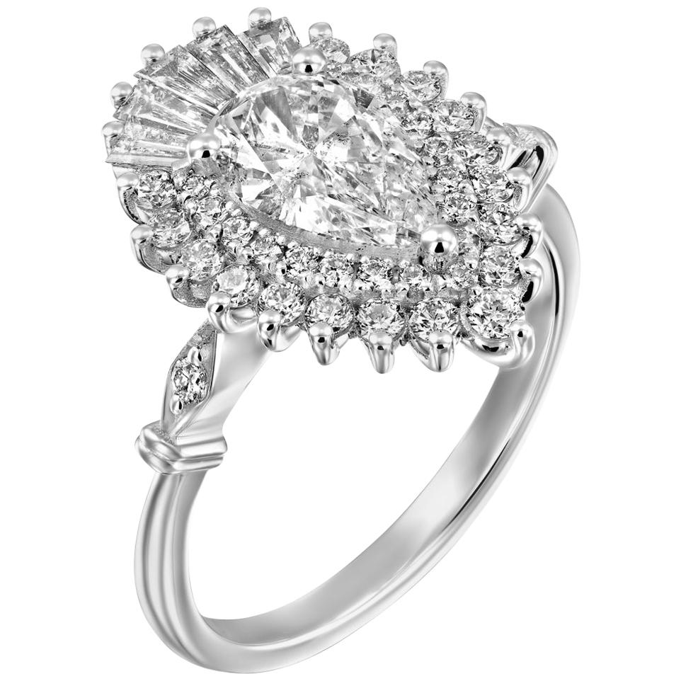 1.5 Carat GIA Diamond Engagement Ring, Gatsby Pear Halo 18 Karat White Gold Ring