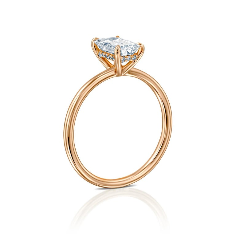 Art Deco 1.5 Carat GIA Diamond Ring, Solitaire Emerald Cut 18 Karat Rose Gold Ring For Sale