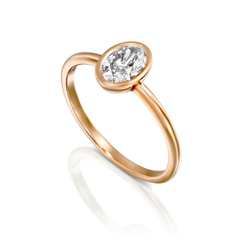 Art Deco 1.5 Carat GIA Diamond Ring, Solitaire Oval Bezel 18 Karat Rose Gold Ring For Sale