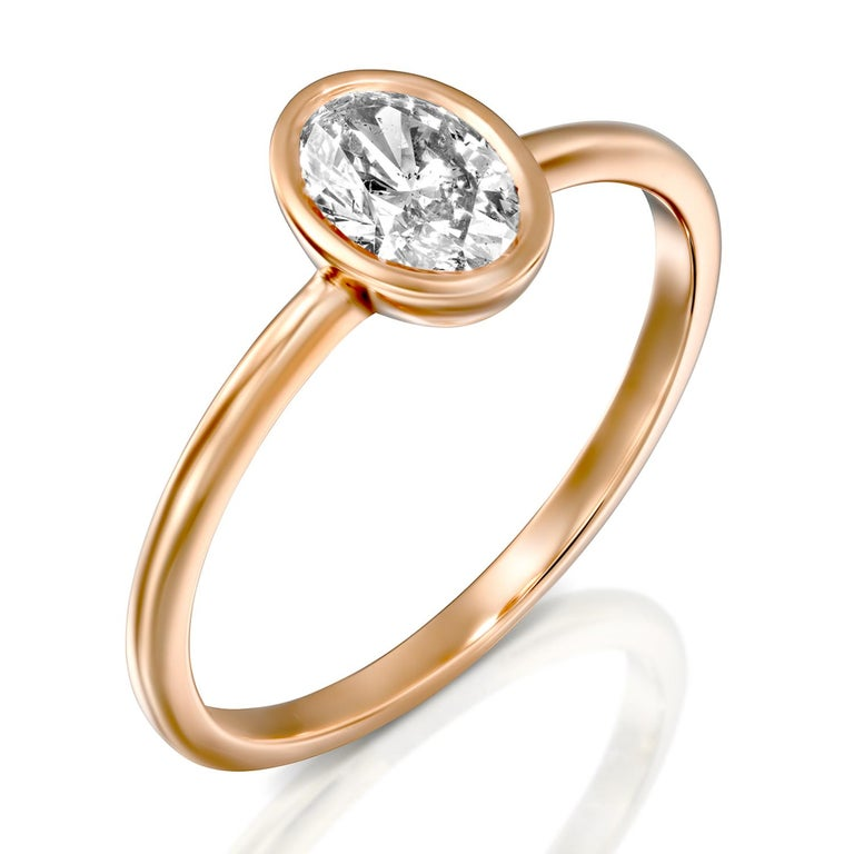 Oval Cut 1.5 Carat GIA Diamond Ring, Solitaire Oval Bezel 18 Karat Rose Gold Ring For Sale