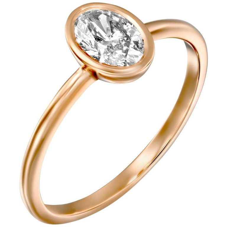 1.5 Carat GIA Diamond Ring, Solitaire Oval Bezel 18 Karat Rose Gold Ring For Sale