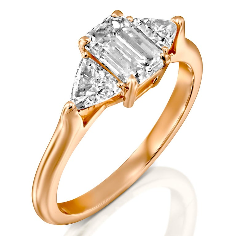 Emerald Cut 1.5 Carat GIA Engagement Ring, 3-Stone Diamond Ring, Emerald and Trillion Cut For Sale