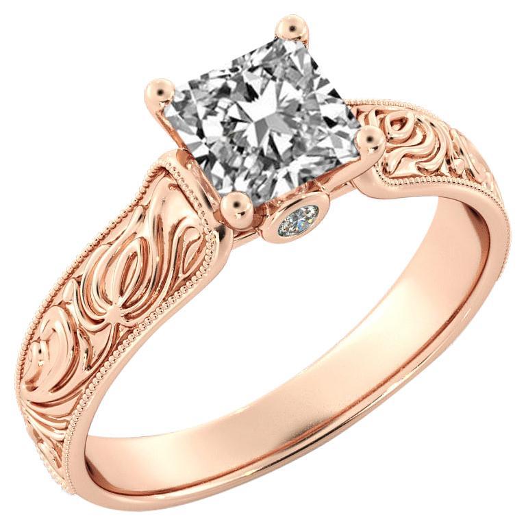 1.5 Carat GIA Princess Cut Diamond Engagement Ring, Hand Engraved Diamond Ring For Sale