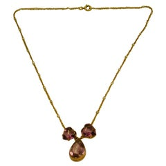 15 Carat Gold Amethyst Pendant and Chain with Seed Pearls, 1910