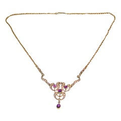15 Carat Gold Pendant Set with Half Pearls, and Amethysts, Integral Rope Chain