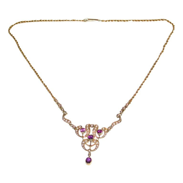 15 Carat Gold Pendant Set with Half Pearls, and Amethysts, Integral Rope Chain For Sale
