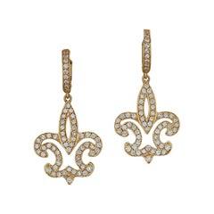 1.5 Carat Ladies Fleur-de-Lis Yellow Gold Dangle Earrings