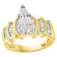 1.5 Carat Marquise Shape Center Diamond Engagement 14 Karat Yellow Gold Ring