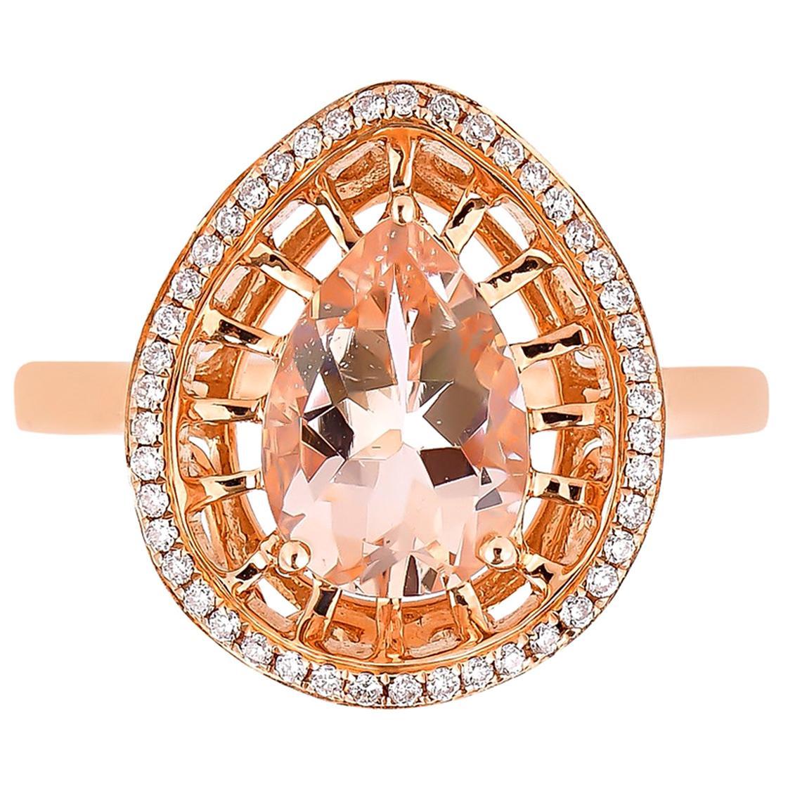 1.5 Carat Morganite and Diamond Ring in 18 Karat Rose Gold