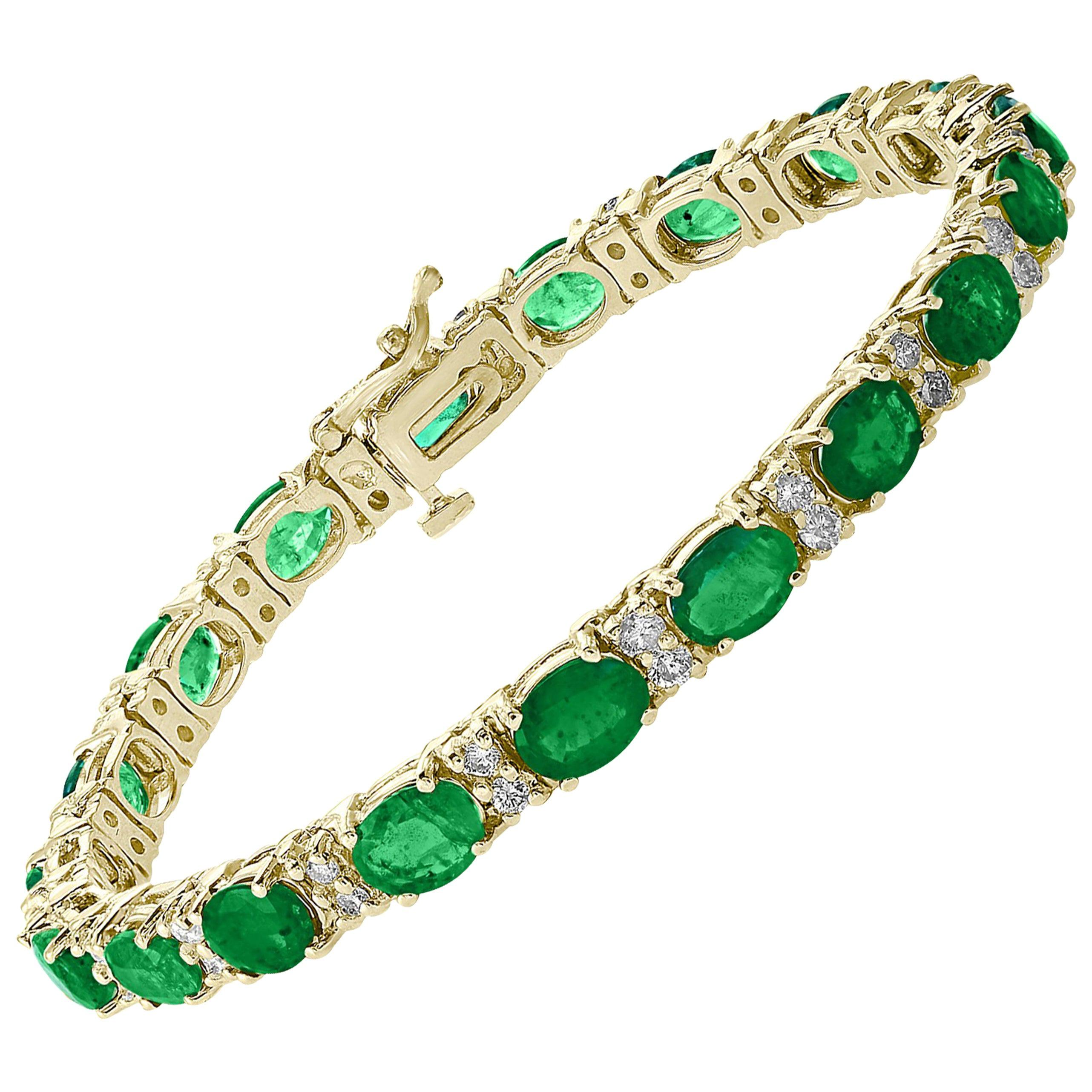 15 Carat Natural Emerald & Diamond Cocktail Tennis Bracelet 14 Karat Yellow Gold