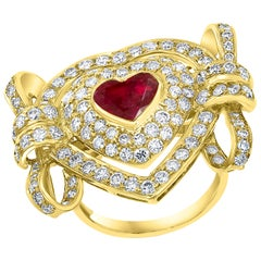1.5 Carat Natural Heart Shape Ruby and 3.5 Carat Diamond 18 Karat Gold Ring