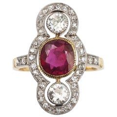 1.5 Carat Natural 'no heat' Ruby Diamond Gold Platinum Art Deco Ring, circa 1920