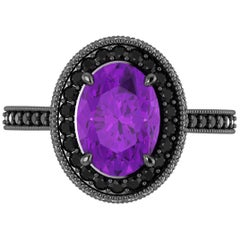 1.5 Carat Natural Purple Amethyst 0.52 Carat Black Diamonds 18 Karat Gold Ring