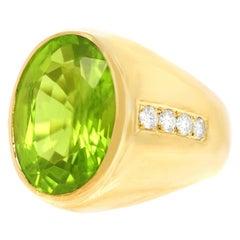 15 Carat Peridot and Diamond Set Gold Ring