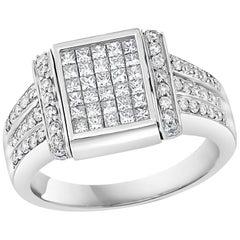 1.5 Carat Princess Cut Diamond & 1 Ct Blue Sapphire Flip Ring 14 K Gold, Unisex