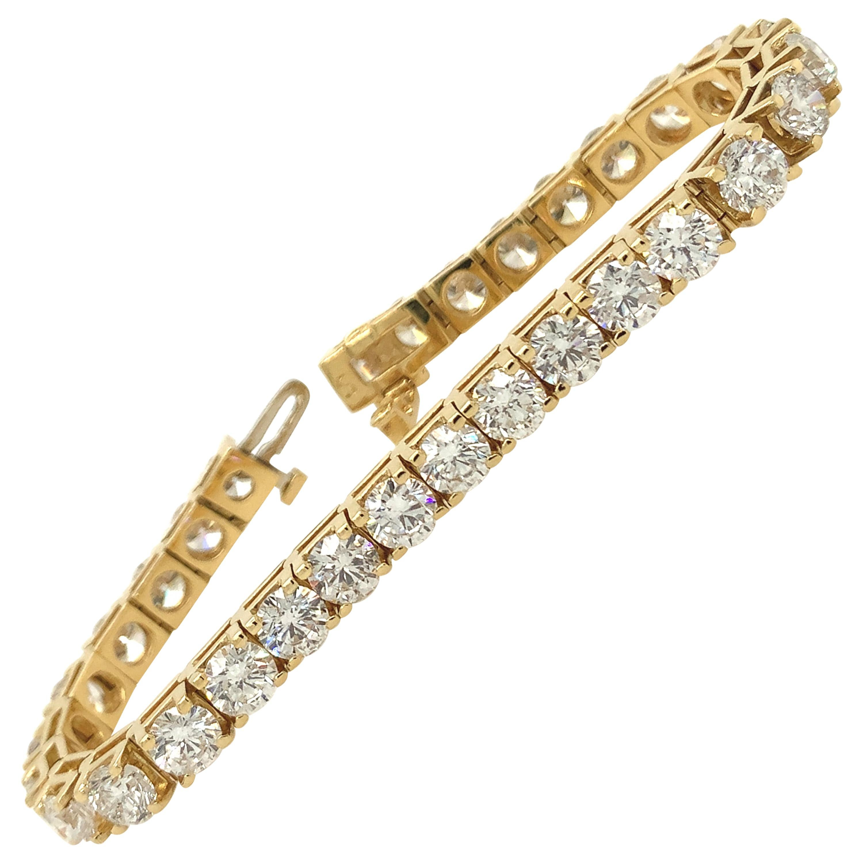 15 Carat Round Brilliant Cut Diamond Tennis Bracelet 18k Yellow Gold