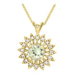 1.5 Carat Round Color Changing Diaspore and Diamond Pendant