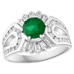 1.5 Carat Round Cut Emerald and 1.2 Carat Diamond Ring 18 Karat White Gold