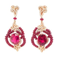 15 Carat Rubelite / Ruby Beads/ 18k Rose gold Designer Diamond Earring