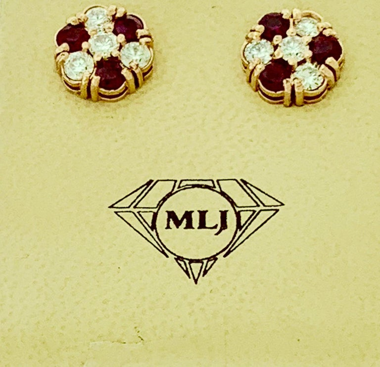 Women's 1.5 Carat Ruby and 2 Carat Diamonds Flower Post Earrings 14 Karat Yellow Gold For Sale