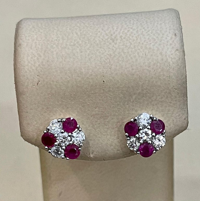 1.5 Carat Ruby and 2 Carat Diamonds Flower Post Earrings 14 Karat Yellow Gold In Excellent Condition For Sale In Scarsdale, NY