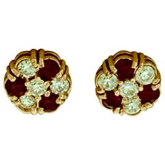 1.5 Carat Ruby and 2 Carat Diamonds Flower Post Earrings 14 Karat Yellow Gold