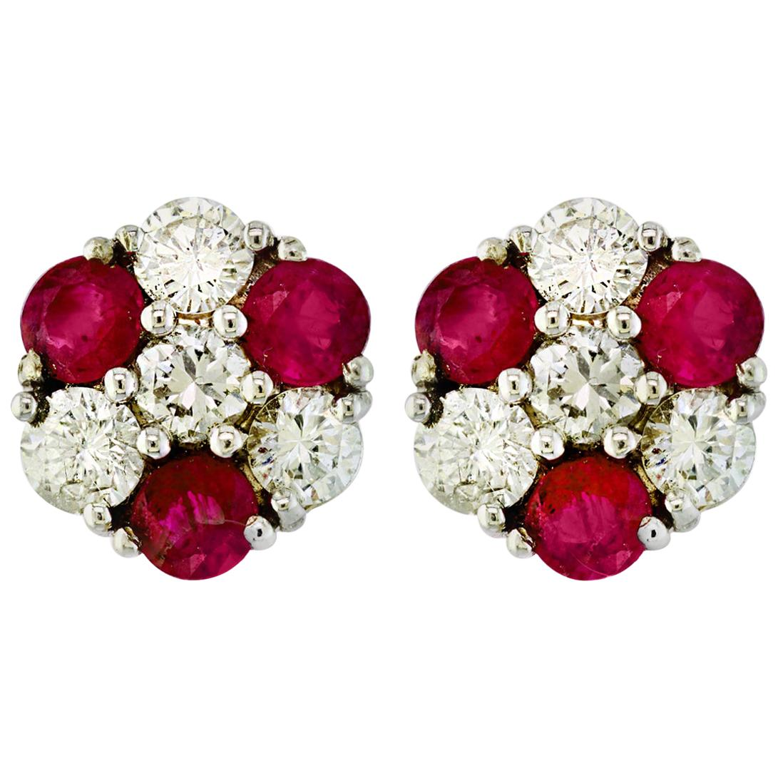 1.5 Carat Ruby and 2 Carat Diamonds Flower Post Earrings 14 Karat Yellow Gold