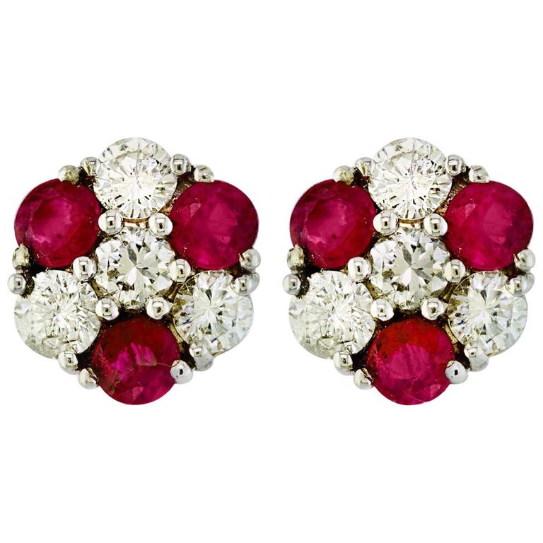 1.5 Carat Ruby and 2 Carat Diamonds Flower Post Earrings 14 Karat Yellow Gold For Sale