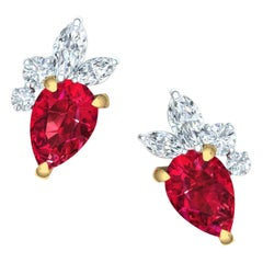 1.5 Carat Ruby and Diamond Cluster Earrings Set in Yellow and White Gold