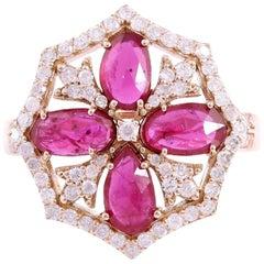 1.5 Carat Ruby Diamond 18 Karat Gold Ring