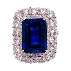 15 Carat Sapphire Diamond Ring, Emerald Cut Sapphire 13 Carat W 2 Carat Diamonds