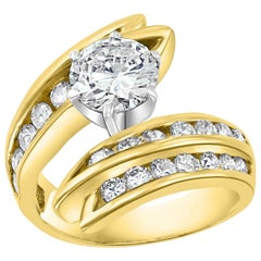 1.5 Carat Solitaire Round Shape 2.5 Total Diamond Engagement 14 Yellow Gold Ring