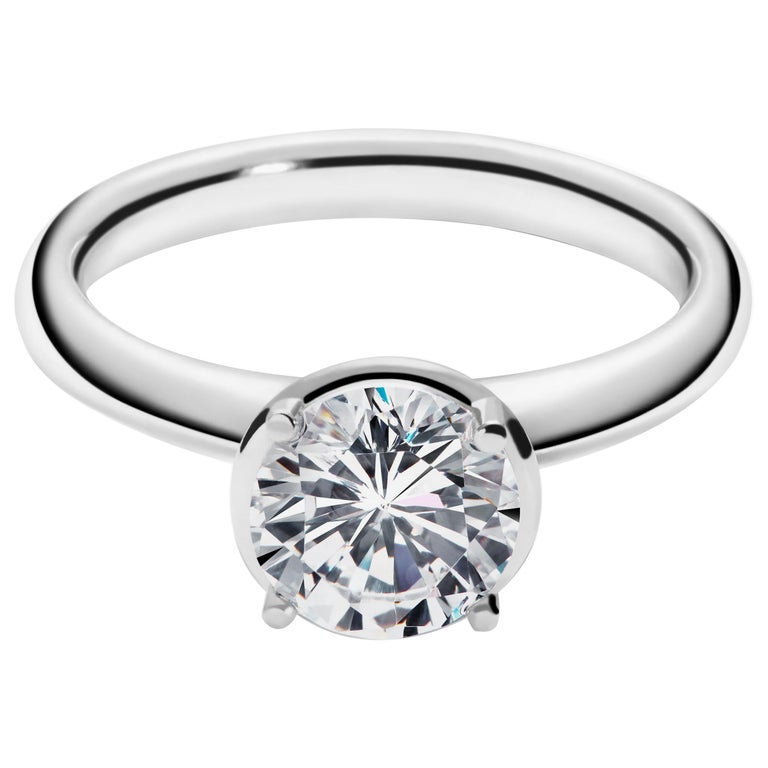 1.5 Carat Solitaire Traceable Diamond Ring in White Gold by Rocks for Life For Sale