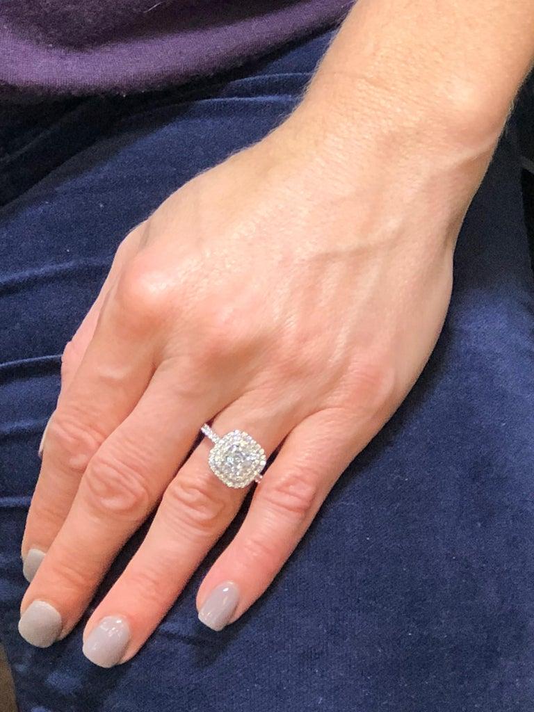 c2825c5cb71c0 1.5 Carat Square Emerald Cut Diamond Halo Engagement Ring GIA Certified