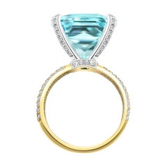 15 Carat Sri Lankan Blue Aquamarine Diamonds 18 Karat Yellow Gold Cocktail Ring