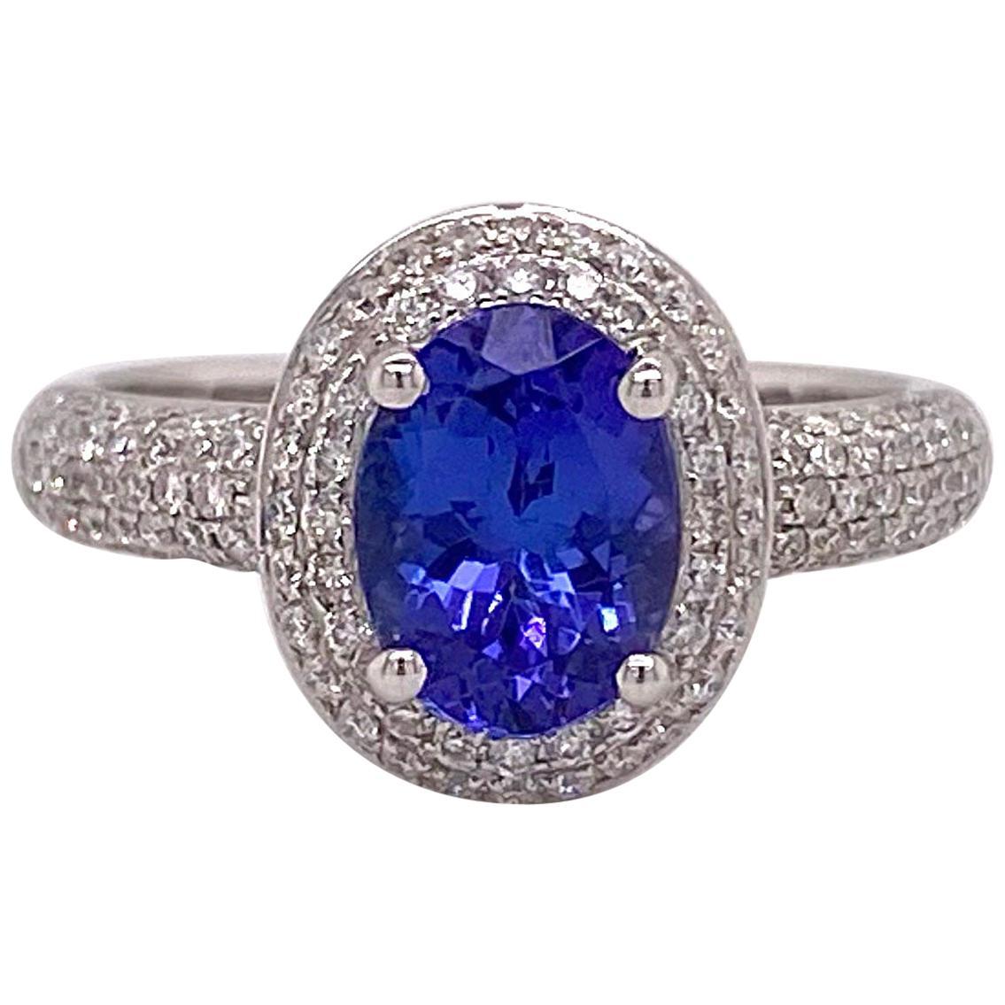 1.5 Carat Tanzanite Ring, 14 Karat White Gold Ring, .50 Carat Diamond Ring Halo