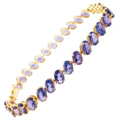 15 Carat Tanzanite Tennis Bracelet, Oval Tanzanite Gemstone 14k Gold Bracelet