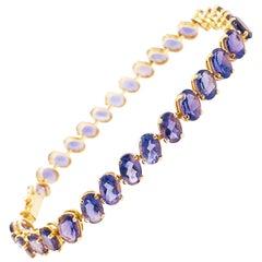 15 Carat Tanzanite Tennis Bracelet, Oval Tanzanite Gemstone 14k Gold Bracelet