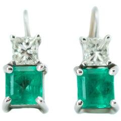 1.5 Carat Total Columbian Emerald, Diamond and 14 Karat White Gold Drop Earrings