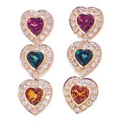 15 Carat Total Heart Shape Tourmaline and Diamond Earrings in 14 Karat Gold