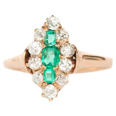 .15 Carat Total Weight Emerald Yellow Gold Engagement Ring