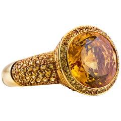 15 Carat Yellow Citrine Gold Halo Cocktail Ring
