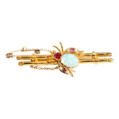 15 Carat Yellow Gold Crystal Opal and Pearl Edwardian Antique Brooch with Box