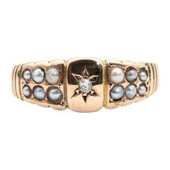 15 Carat Yellow Gold Old Mine Cut and Seed Pearl Vintage Ring